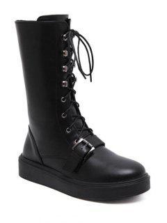 Buckle Platform Lace-Up Mid-Calf Boots - Black 39