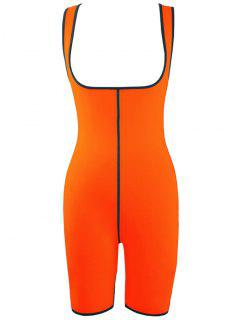 Double Side Sports Skinny Romper - Orange Red Xs