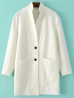 Laine Poches Blend Coat - Blanc Xs