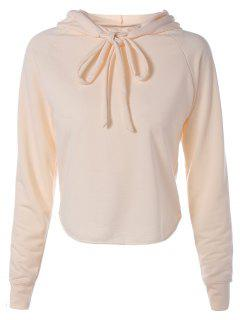 Pure Color Cropped Long Sleeves Hoodie - Apricot S