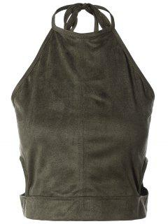 Smocked Faux Suede Tank Top - Grey Olive Xl