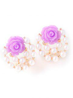 Faux Pearl Floral Rose Earrings - Purple