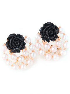 Faux Pearl Floral Rose Earrings - Black