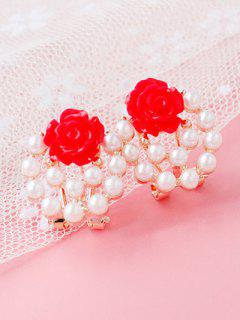 Faux Pearl Floral Rose Earrings - Red