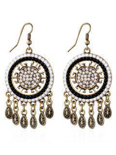 Water Drop Rhinestone Bohemian Earrings - White