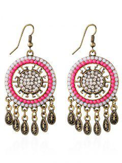Water Drop Rhinestone Bohemian Earrings - Pink