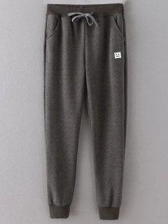 Emoticon Patched Jogging Pants - Gray 2xl