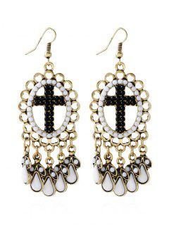 Bohemian Beads Water Drop Crucifix Earrings - Black