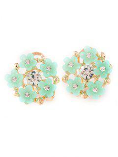Rhinestone Flower Adorn Earrings - Green