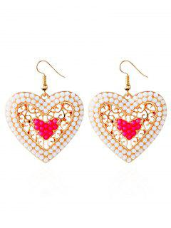 Bohemian Love Heart Beads Earrings - Pink