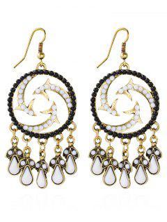 Bohemian Beads Twisted Water Drop Earrings - Black