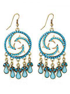 Bohemian Beads Twisted Water Drop Earrings - Blue
