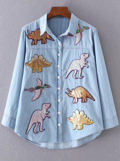 Sequined Dinosaur Denim Shirt - Denim Blue S