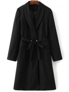 Wool Blend Shawl Coat - Black S