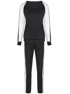 Raglan Sleeve Sweatshirt + Pantalons Sport - Noir M