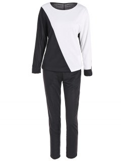 Color Block Sweatshirt + Pantalons Sport - Noir M