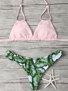 Ensemble Bikini Rembourré Feuille Imprimée - Rose PÂle S