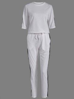 Camiseta + Sport Pantalones Con Cordón - Blanco S