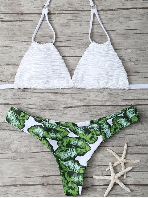 ladies Padded Leaf Print Bikini - WHITE M Mobile