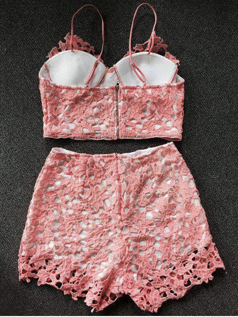 shops Lace Bralette Top and Shorts - ORANGEPINK L Mobile