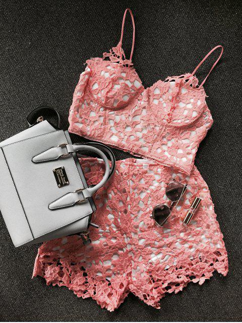 latest Lace Bralette Top and Shorts - ORANGEPINK M Mobile