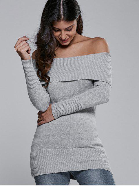 chic Off The Shoulder Slimming Sweater Dress - GRAY ONE SIZE Mobile