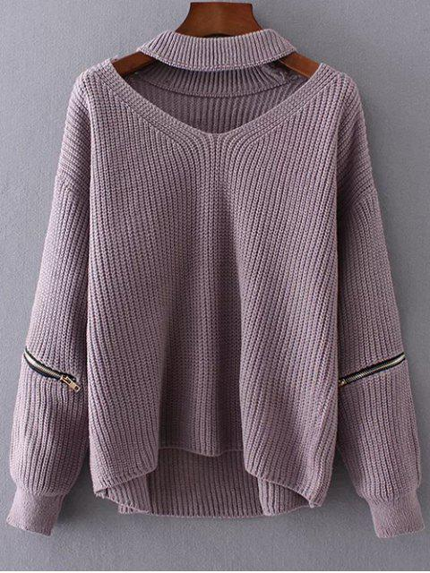 womens Cut Out Chunky Choker Sweater - LIGHT PURPLE ONE SIZE Mobile