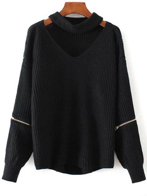 Weiter Pullover mit Halsband und Kerbe - Schwarz Eine Größe Mobile