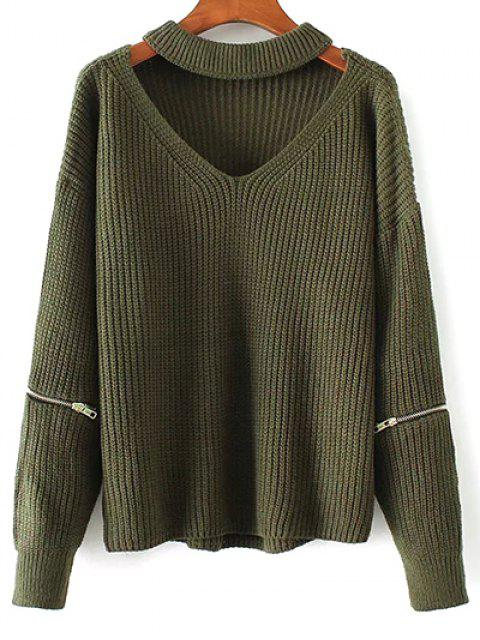 women's Cut Out Chunky Choker Sweater - GREEN ONE SIZE Mobile