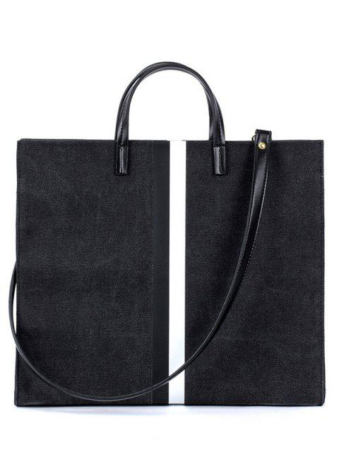 sale Striped Pattern Canvas Spliced Block Tote Bag - BLACK  Mobile