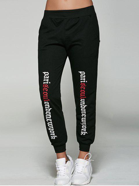 women's Letter Jogger Pants - BLACK L Mobile