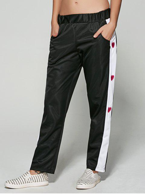 best Embroidered Color Spliced Sporty Pants - BLACK M Mobile