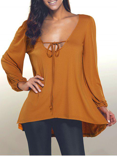 outfit Plunging Neck Loose Fitting High Low T-Shirt - KHAKI S Mobile
