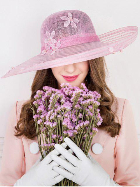 shop Flower Embroidery Faux Pearl Church Hat - PINK  Mobile