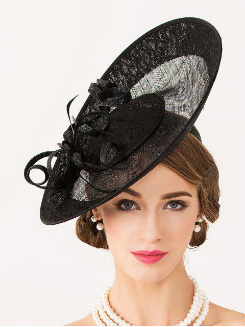 Flor de lino hecha a mano sombrero de Fascinator - Negro  Mobile