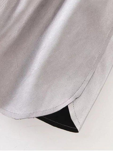 chic Elastic Waist Faux Leather Shorts - SILVER M Mobile