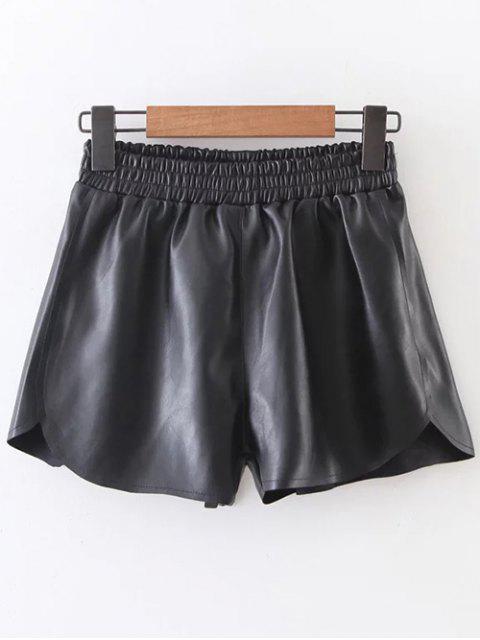 unique Elastic Waist Faux Leather Shorts - BLACK M Mobile
