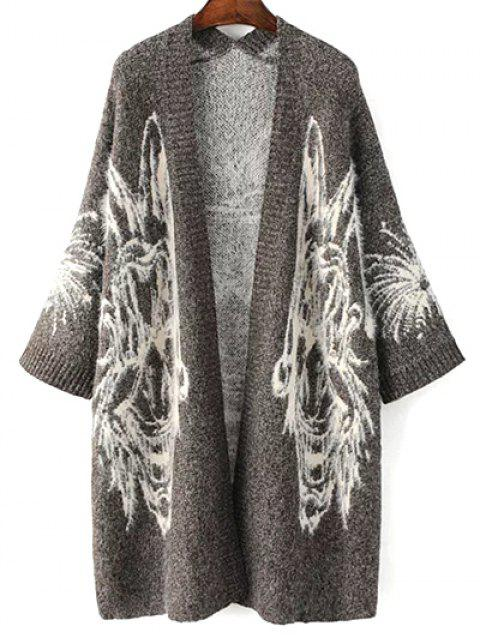 chic Jacquard Knit Oversized Cardigan - GRAY ONE SIZE Mobile