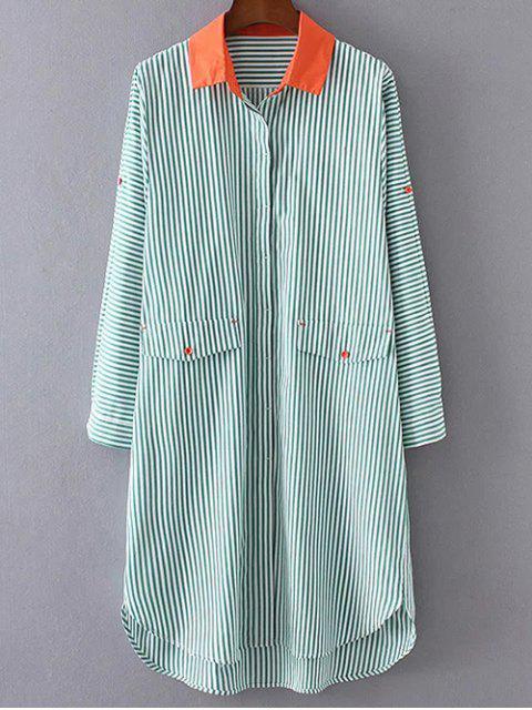 Rayé boutonné Robe chemise - Vert L Mobile