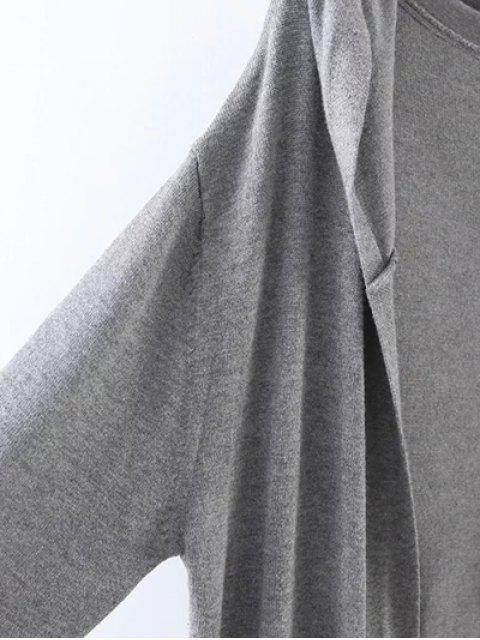 new Hooded Duster Cardigan - GRAY ONE SIZE Mobile