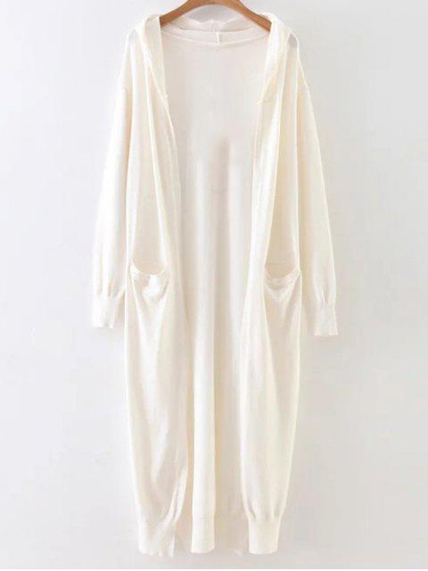 hot Hooded Duster Cardigan - WHITE ONE SIZE Mobile