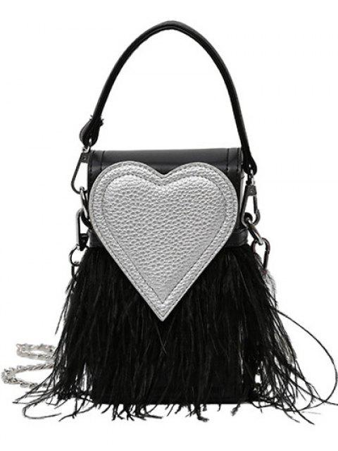 hot Color Block Heart Pattern Fringe Bag - BLACK  Mobile