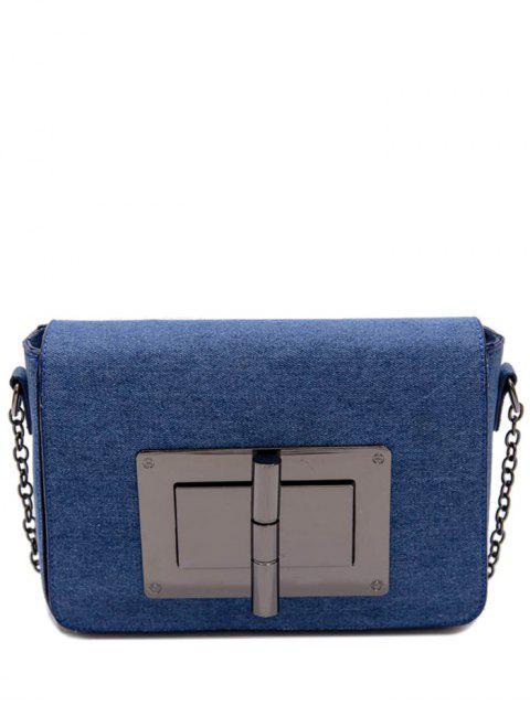 outfit Metallic Hasp Denim Crossbody Bag - BLUE  Mobile