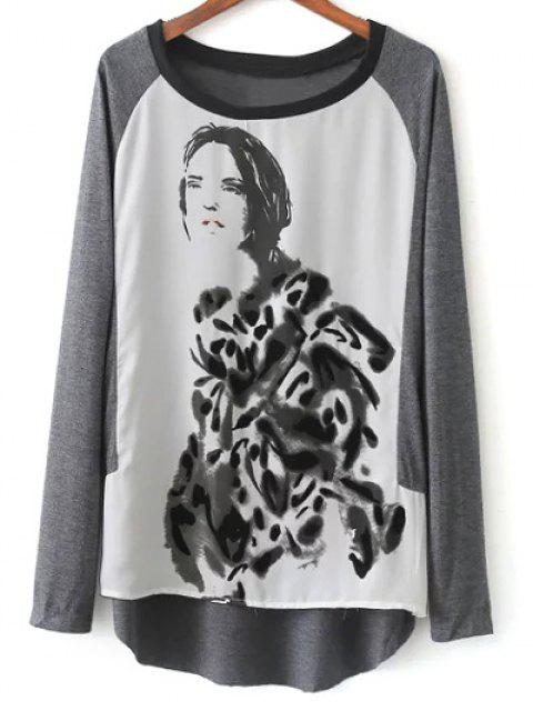 fashion Raglan Sleeve Ink Painting T-Shirt - GREY AND WHITE S Mobile