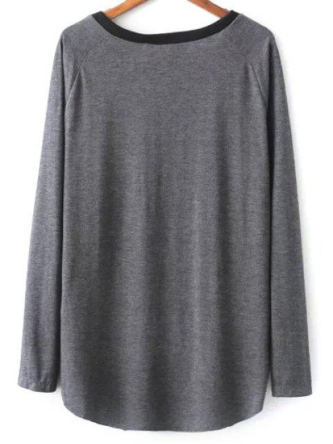 trendy Raglan Sleeve Ink Painting T-Shirt - GREY AND WHITE M Mobile