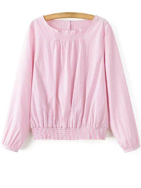 Gestreifte Smok Taille Blouson-Ober - Pink M Mobile