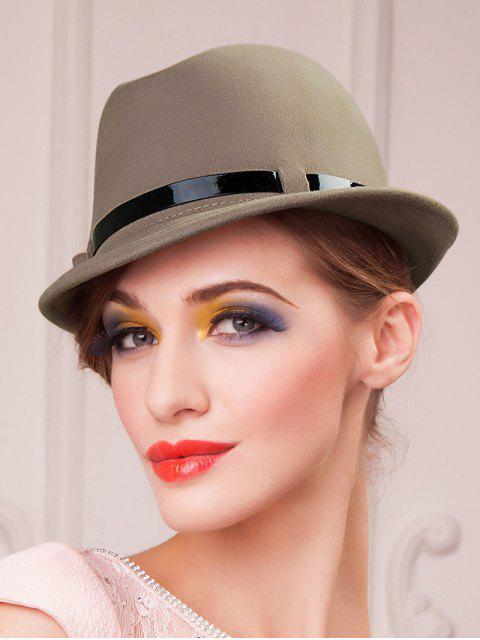 fancy Embellished Flanging Wool Fedora Hat - CAMEL  Mobile