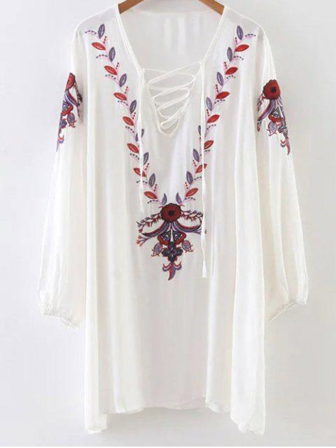 unique Floral Long Sleeve Embroidered Tunic Dress - WHITE ONE SIZE Mobile