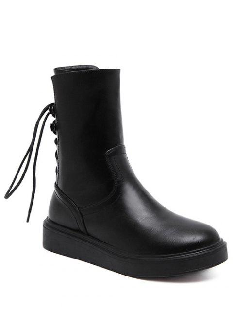 chic Zip Platform Short Tie Up Boots - BLACK 37 Mobile
