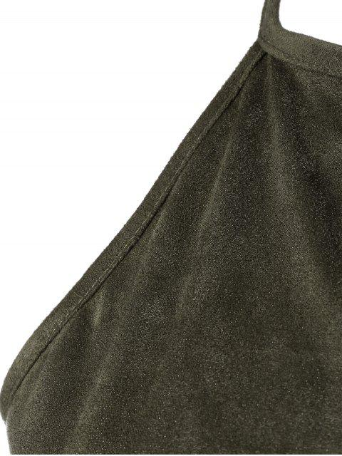 ladies Smocked Faux Suede Tank Top - GREY OLIVE S Mobile